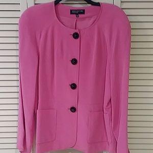 💗Jones New York Hot Pink Silk designer Jacket